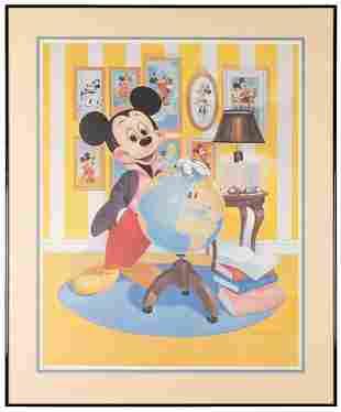 Mickey's Birthday Lithograph, Signed. Disneyland,