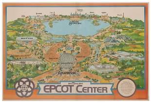Walt Disney World Epcot Center 1982 Map Poster. Offset