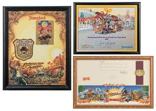 Trio of Framed Disneyland Items. Includes limited