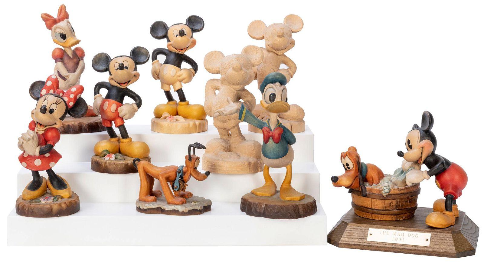 ANRI Lot of Nine Handcrafted Wooden Disney Figurines.
