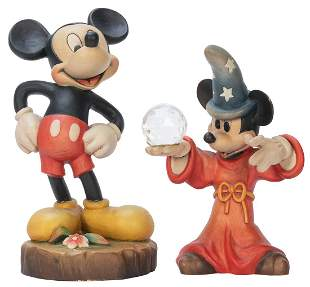 ANRI Pair of Handcrafted Wooden Mickey Mouse Figures.
