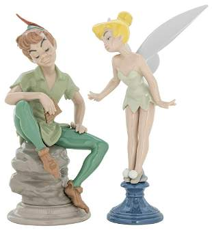 Lladro Peter Pan and Tinkerbell Porcelain Figures.