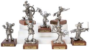 Lot of 7 Pewter Mickey Mouse Figures. Limited edition