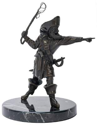 Pirates of the Caribbean Bronze Auctioneer Figure.