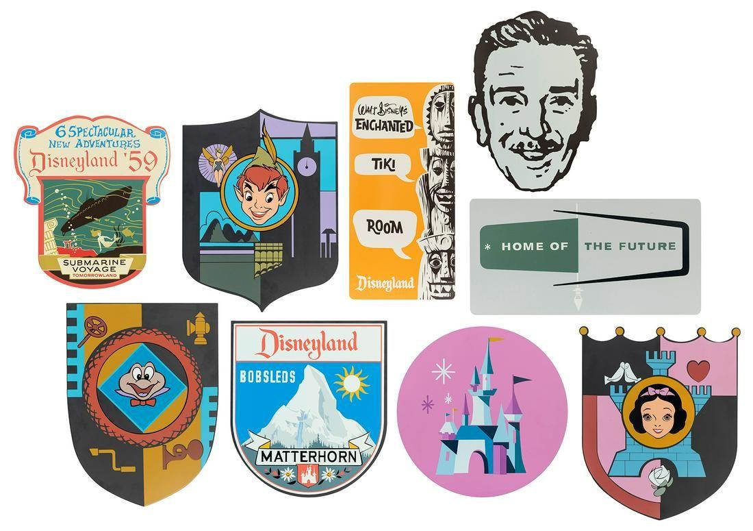 [Disneyland] Lot of 9 Metal Signs. Walt Disney Co. Two