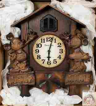 Mickey Mouse Wooden Cuckoo Clock. Mickey and Minnie