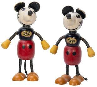 Pair of Fun-E-Flex Mickey Mouse Figurines. Circa 1930s.