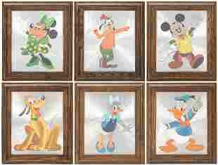 Lot of Disney Character Framed Metallic / Foil Portrait