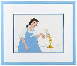 Beauty and the Beast Belle and Lumiere Animation Cel.
