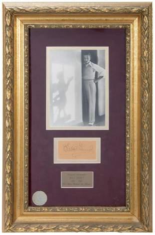 Framed Walt Disney Autograph Display. Clipped signature