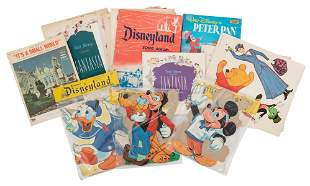 Lot of Disney Decorations, Postcards, and Sheet Music.