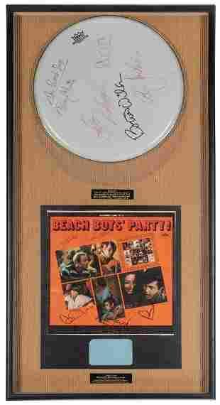 The Beach Boys Drumhead Display. White Remo drumhead