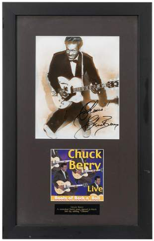 Chuck Berry Publicity Still Display. Signed by the
