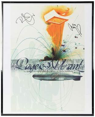 Jimmy Page and Robert Plant Concert Poster. 1998.