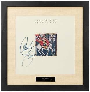Paul Simon Graceland Album Display. Signed by Paul