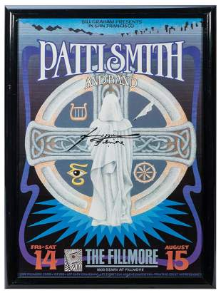 Patti Smith Concert Poster. Signed in black marker by