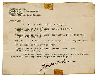 George M. Cohan Typed Letter Signed. [N.d.]. Typed