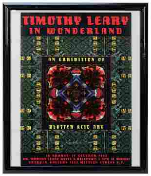Timothy Leary in Wonderland Signed Poster. 1995. Signed
