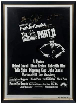 The Godfather Part II Poster. Signed in gold ink by Al