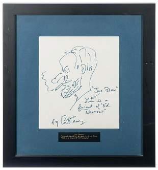 Art Carney Sketch Display. Original sketch drawn and