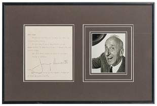 Jimmy Durante Letter Display. Typewritten letter signed