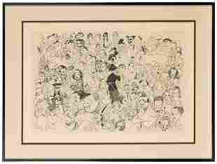 HIRSCHFELD, Al. Movieland. 1984. Lithograph. Signed in