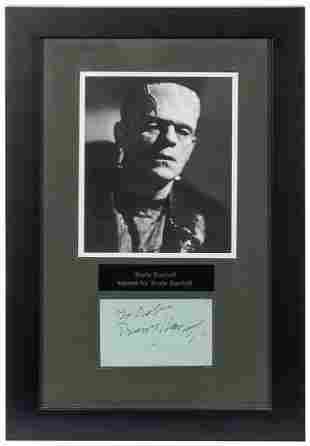 Boris Karloff Autograph Display. Inscribed with