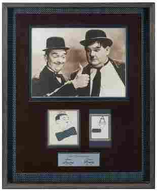 Laurel and Hardy Autograph Display. 1946. Original