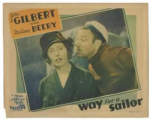 """Way for a Sailor. MGM, 1930. Lobby card (11 x 14"""""""