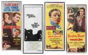Four Insert Movie Posters featuring Bogart, Brando, and