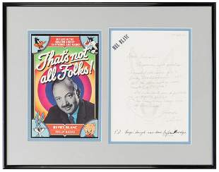 Mel Blanc Handwritten Letter Display. Handwritten