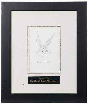 Chuck Jones Signed Sketch of Bugs Bunny. Signed pencil