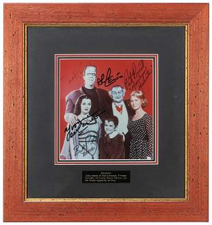 The Munsters Signed Display. Color photograph signed by