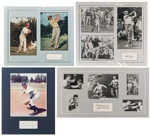Four Sports Autograph Displays. Matted autograph
