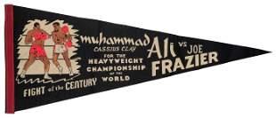 Muhammad Ali vs. Joe Frazier Souvenir Boxing Pennant.
