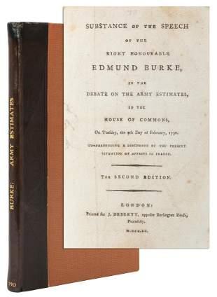 BURKE, Edmund (1729–1797). Substance of the