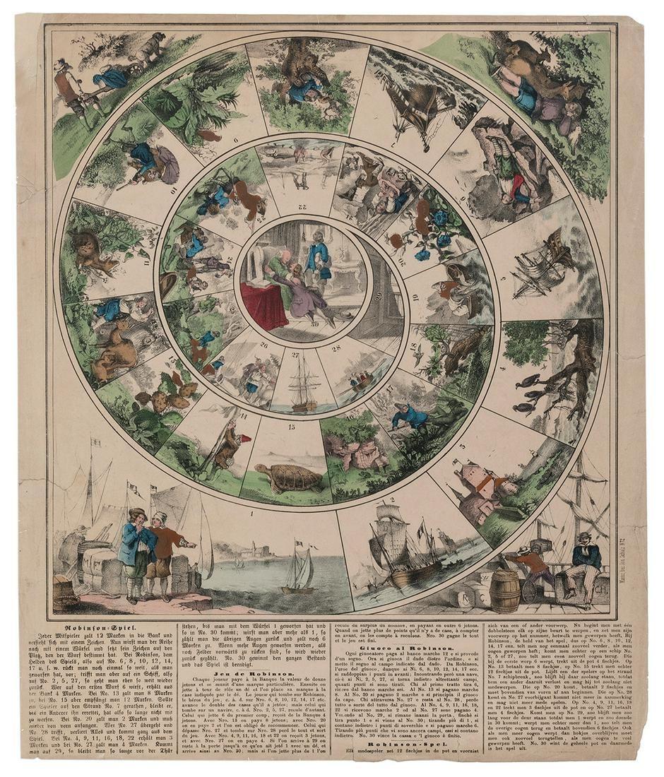 [THE ROYAL GAME OF GOOSE]. Robinson Spiel / Jeu de