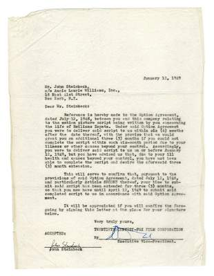 STEINBECK, John (1902-1968). Typed document signed