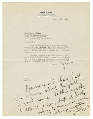 CAIN, James (1892–1977). Typed letter signed