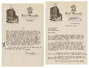 WOOLRICH, Cornell (1903–1968). Typed letter