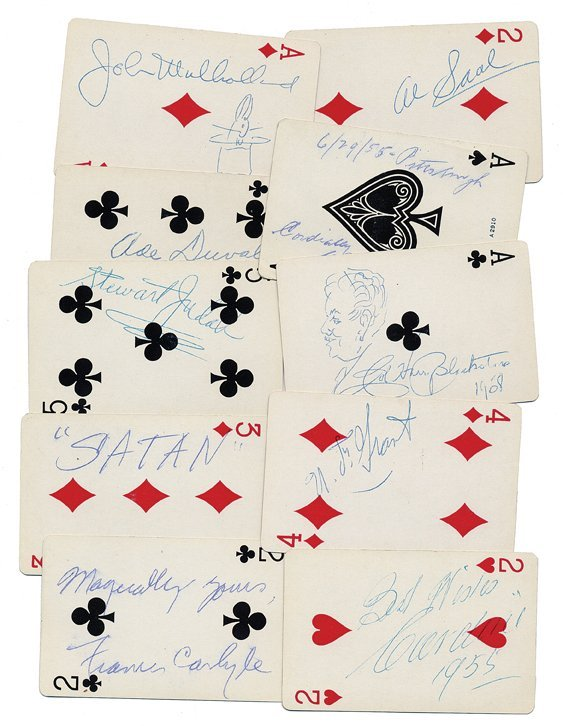 12: Group of 42 playing cards autographed by prominent