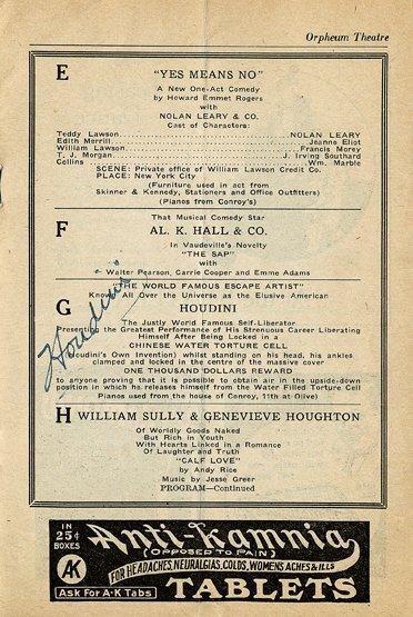 129: Houdini.  Signed program. 1922. St. Louis Mo.