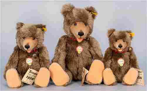 Steiff Trio of Teddy Baby 1930 Replica Bears. Made in