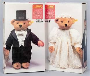 Steiff Bride and Groom Wedding Party Teddy Bears. Made