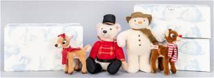 Steiff Christmas Limited Edition Snowman, Reindeer, and