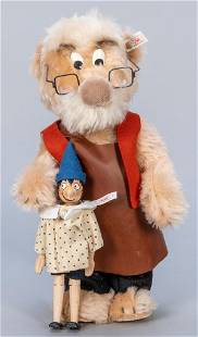 Steiff 1996 Geppetto with Wooden Pinocchio Puppet LE.