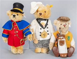 Trio of Steiff Occupational Teddy Bears. Including