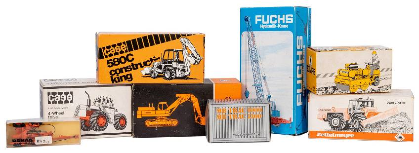 Group of 8 NZG / West German Diecast Construction