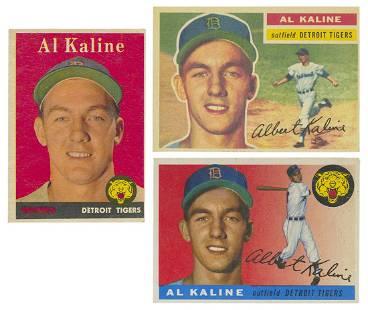 Topps Al Kaline Baseball Cards. 1955, 1956, 1958.