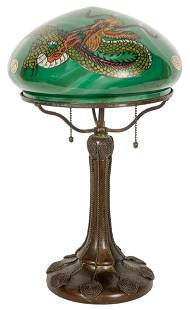 Handel Table Lamp with Reverse-Painted Dragon Shade.